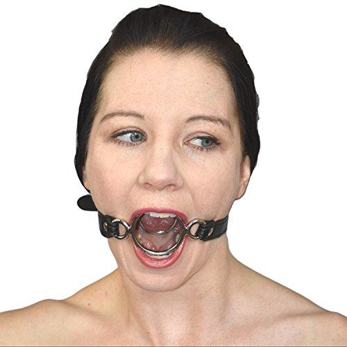 Fetisch Mundknebel 2 Metallringen aus weichem Kunstleder