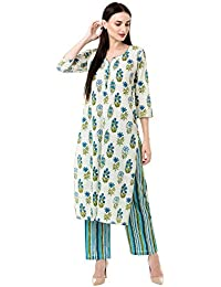 Gulmohar Jaipur Women's Cotton Printed Kurta Pant Set (Blue)