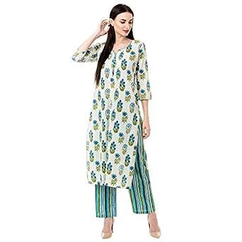 Gulmohar Jaipur Women's Cotton Printed Kurta Pant Set (Blue)