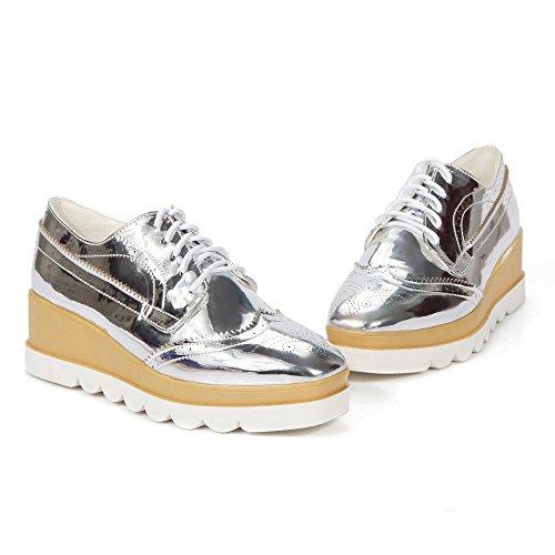 les femmes disent couleur baskets chaussures mode plat ? lacets silver