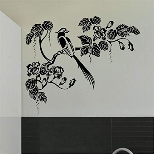JXFFF Oriental Bird Tree Wandaufkleber Art Transfer Pattern Template Kinderzimmer Tier Tapete Dekoration 64 x 74 cm -