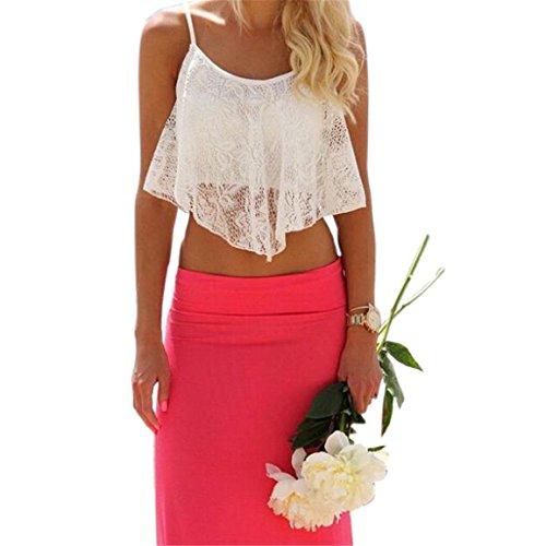 Mode Damen Tank,Moonuy Lace Floral Crop Top Bralette Bralet Hemd Weiß