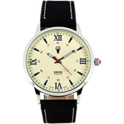 Swiss Emporio Men's Quartz Swiss Made Watch with Beige Dial Analogue Display and Black Leather Strap SE03CRSL10