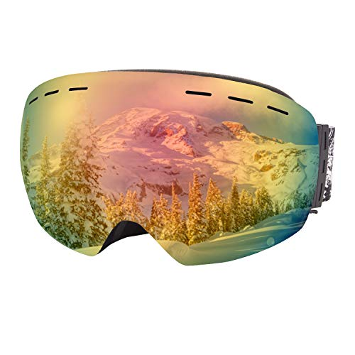Dracarys Skibrille Anti Nebel UV-Schutz Rahmenlos Wechselobjektiv Über Brille Helm Kompatibel Snowboardbrillen für Männer Frauen (Rot VLT 9.6%)