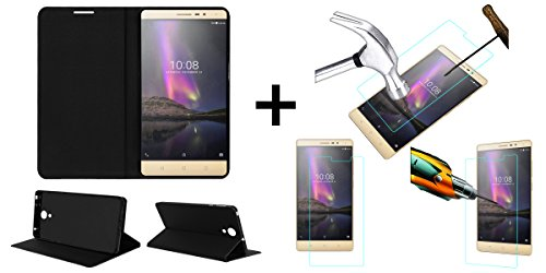 ACM Flip Flap Case & Tempered Glass/Screen Guard Combo For Lenovo Phab 2-Black