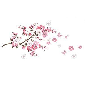 Malloom® Fleurs De Prunier Fleur Mur De Papillon Autocollant Maison De Décalque
