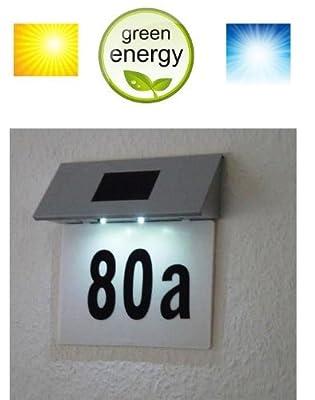 MQ Solar LED Hausnummer mit Beleuchtung im Edelstahl-Look Solarnummer Solarlampe von MQ-Power - Lampenhans.de