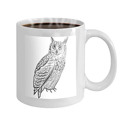 Coffee Mug Tea Cup Best Gift Idea For Mom/Girlfriend/Her/Friends/Coworkers 11 Ounce Big Ceramic White Coffee Mug owl bird head symbol mascot emblem design logo design as halloween sketch