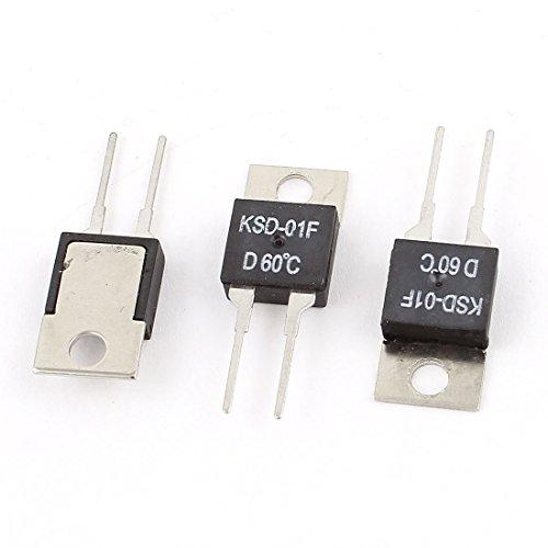 sourcingmap 3 piezas KSD-01F 60 Centígrados Interruptor de temperatura cierre normal Termostato...