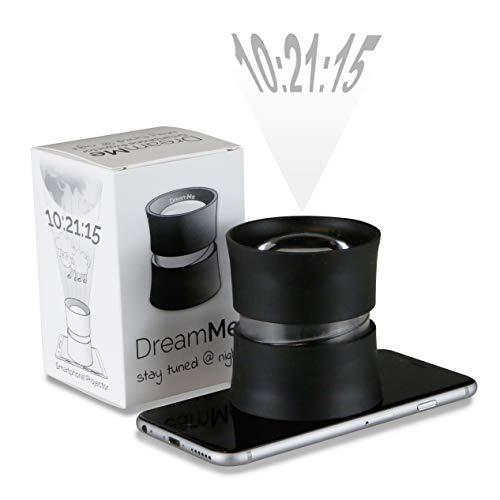 DreamMe Projektionswecker Projektionsuhr Smartphone Projektor für s Handy - Praktisches Technik Gadget erweitert iOS Android Mobiltelefon zur Einschlafhilfe Schwarz
