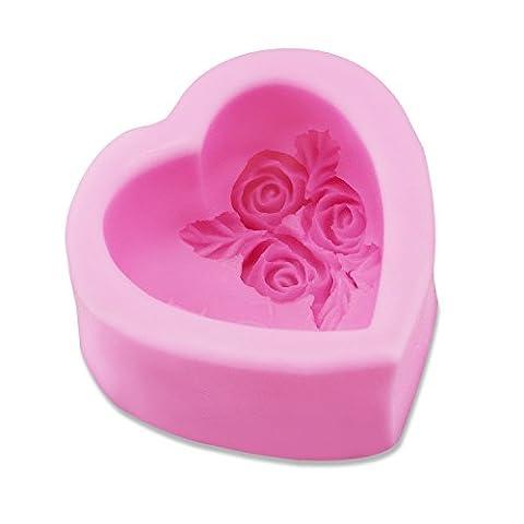 PsmGoods® 3D-Rosen-Herz-Silikon-Form-Behälter DIY Mould für Kuchen-Schokoladen-handgemachte Seife Backen-Werkzeuge (Rosa)