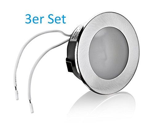 3er Set Flache Möbelleuchte Unterbauleuchte Einbaustrahler Einbauleuchte Küchenleuchte Einbauspot 12V flach geeignet für G4 LED/Halogen Lampe Leuchtmittel 12V AC/DC max. 20W (12v Einbauleuchten)