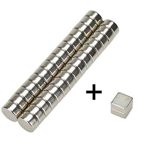 duschvorhang magnet eLander- 32 Mini Magnete, ultrastark - 6x3mm?30 Stücks -Zylinder? + 6x6x3mm?2 Stücks - Würfel? - NEODYM - Das Original