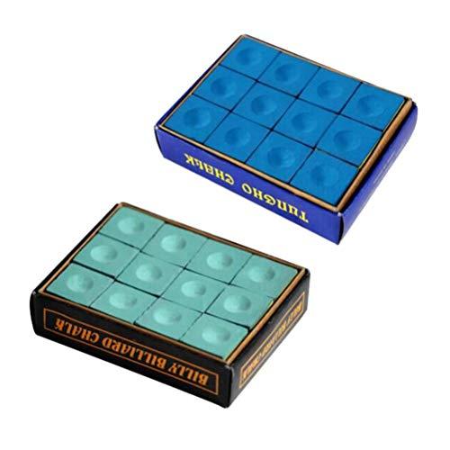 LIOOBO Tragbare Billard-Kreide aus Kreide für Pool mit 2 Würfeln (Blau und Grün)