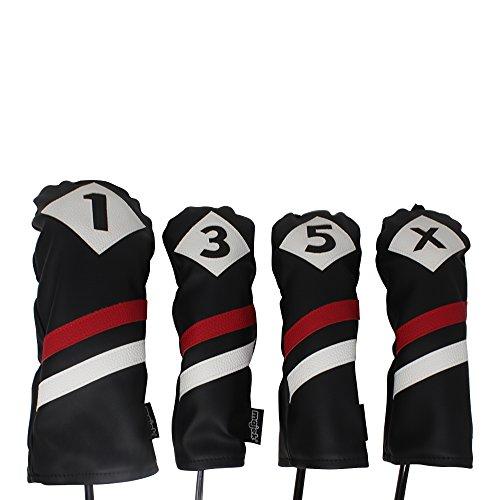 Majek Retro Golf Schlägerkopfhüllen Schwarz Rot und Weiß Vintage Leder Stil 135x Driver und Fairway Head Covers Passt 460cc Driver Classic Look (Head Golf Covers Cobra Clubs)