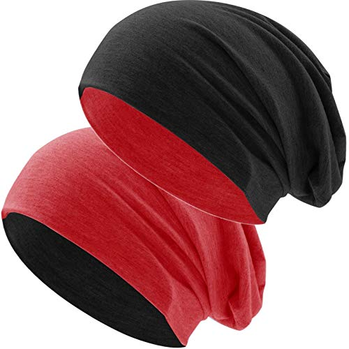 Hatstar Klassische Jersey Slouch Long Beanie Mütze, leicht und weich, Reversible Bicolor für Damen und Herren Wintermütze (Zwei-farbig | Bicolor rot-schwarz)