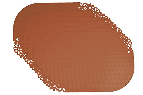 Set of 6 Pcs Floral Border Anti-Skid Bottom Waterproof Flexible Dining Table Kitchen Placemats – Color: Brown