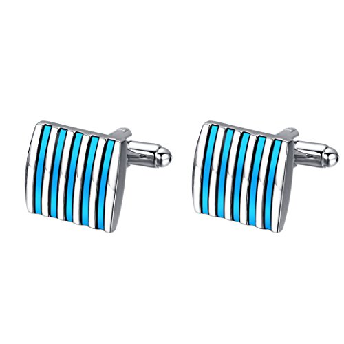 yoursfs-classy-sliver-and-blue-color-business-cufflinks-classic-square-stain