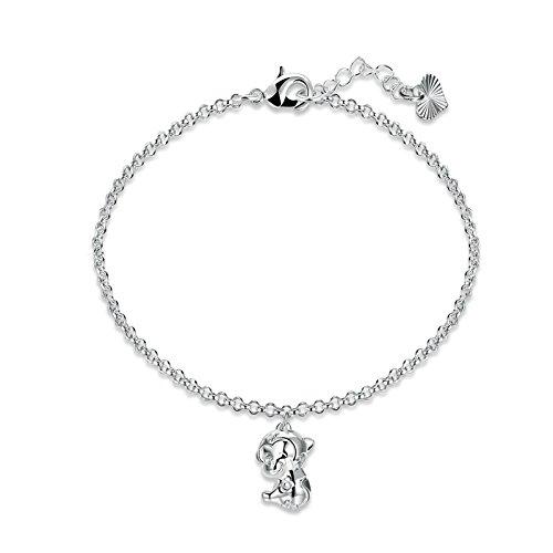 Adisaer Armband Damen Kupfer Charm-Armband Silber Zwölf Tierzeichen Schaf Armbänder für Frauen Geschenk