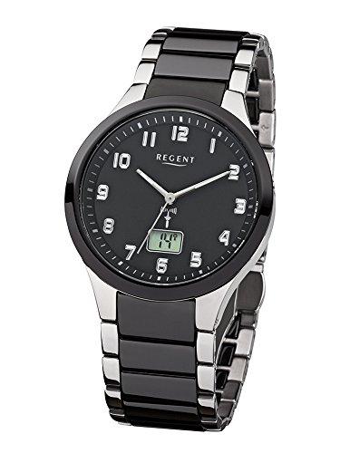 Regent Hombre de Acero Reloj de pulsera elegante Analog de cerámica Pulsera de plata negro de radio reloj urfr236