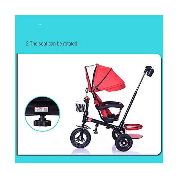 GSDZSY - Children Tricycle Adjustable seat and handlebar, Detachable putter and fence, Adjustable awning, Push rod can control steering, 1-5 years old GSDZSY ❀ Material: High carbon steel + ABS + rubber wheel, suitable for children from 6 months to 6 years old, maximum load 30 kg ❀ Features: The height of the push rod can be adjusted, the seat can be rotated 360; the adjustable umbrella can be used for different weather conditions ❀ Performance: high carbon steel frame, strong and strong bearing capacity; rubber wheel suitable for all kinds of road conditions, good shock absorption, seat with breathable fabric, baby ride more comfortable 4