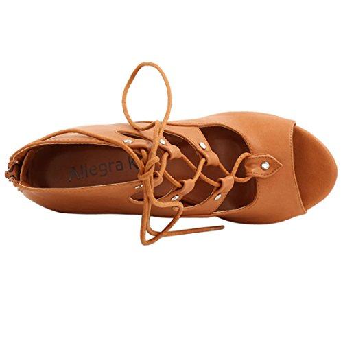 Allegra K Femme à lacet Découpe Sandales Compensées Marron