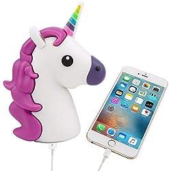 UBMSA Cargador unicornio Emoji Powerbank 2600mAh cargador de batería externa unicornio morado - emoticono- para smartphones y otros dispositivos con puerta USB - incluye cable de carga micro USB