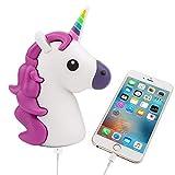 UBMSA Einhorn Emoji-Powerbank 2600mAh Externes Ladegerät im Unicorn-Emoji-Design in Lila für Smartphones Handy Phones und andere Geräte mit USB-Anschluss - inklusive Micro USB-Ladekabel