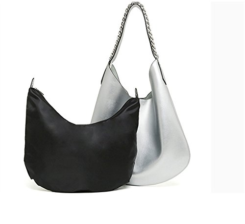 Xinmaoyuan Borse donna grande pacchetto borsa tracolla in pelle Crescent Pack spalla ritiro a mano le donne Shopping Bag colore puro gnocco di catena del tipo sacchetto,Rosa Argento