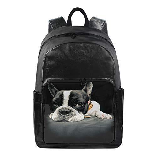 ISAOA Rucksack für Schule, Laptoptasche, 39,6 cm (15,6 Zoll), wasserdicht, Motiv: Französische Bulldogge -