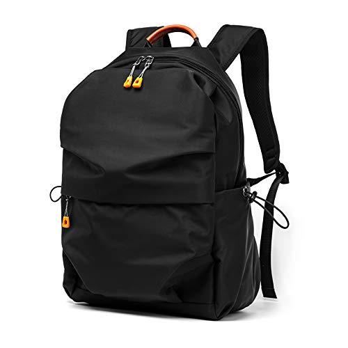 Tchin Mochila Bolsa de Ordenador Simple Moda Tendencia Bolsa Joven Casual Poliéster Impermeable Mochila (Color : Negro)