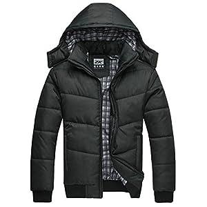 351b225f49c U-shot Men s Winter Black Warm Jacket Hooded Outwear Removable Coat (S)