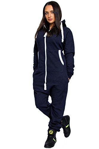 Amaci Damen Overall Jumpsuit Onesie Jogging Sportanzug Trainingsanzug Jogginganzug 3001D Navyblau XL (fällt größer aus)