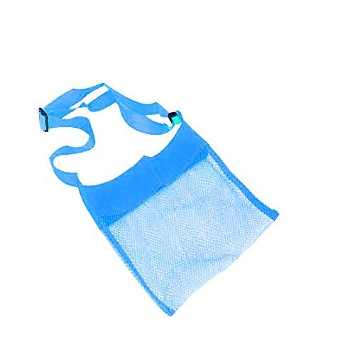 Ukallaite Bolso bandolera de malla de color sólido para niños, diseño de concha de mar, azul, talla única