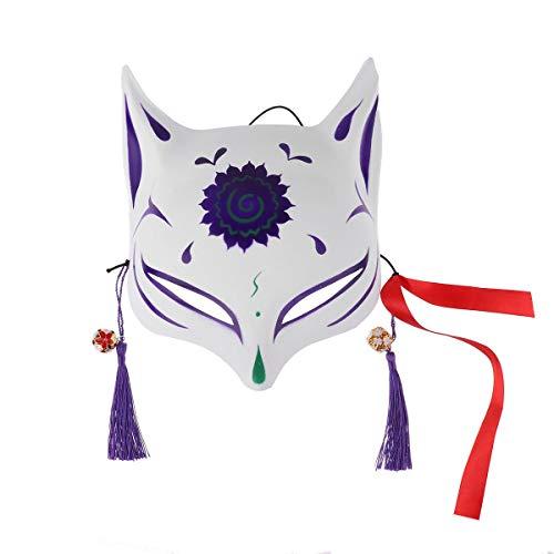 Agoky Handbemalte japanische Halbgesichts Maske PVC Fuchs Gesichtsmaske mit Quasten Glöckchen für Party Karneval Maskerade Ball Fasching Kostüm Violett One Size