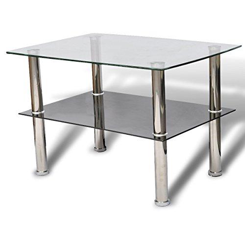 Vidaxl Glastisch Couchtisch Glas 2 Ebenen Tisch Beistelltisch