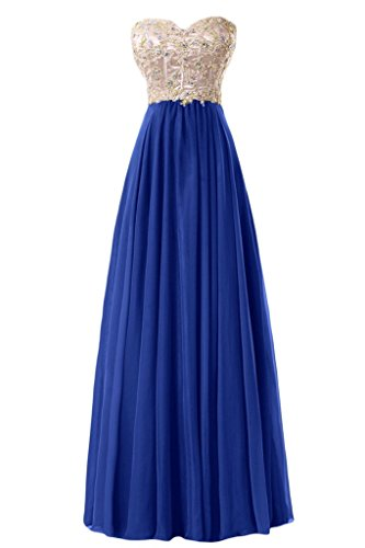 Sunvary paillette di una linea Sweetheart Chiffon Evening Dresses Homecoming Gowns Blu reale