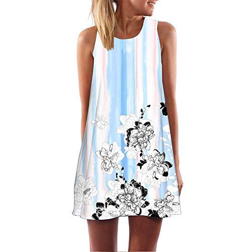 Damen Sommer 3D Blumendruck Bohe Retro Tank Kleid -