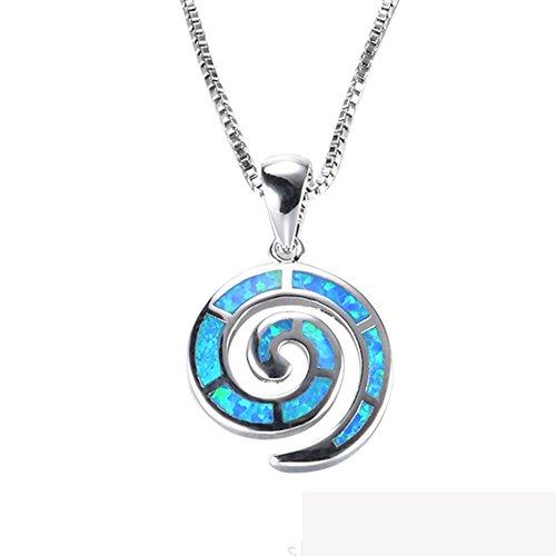 J.Memi's Halskette Damen Kette Sterling Silber 925 Blau Muschel Opal Synthetische Zirkonia Anhänger Valentinstag Geschenk Für Mädchen Muttertag Weihnacht 18''