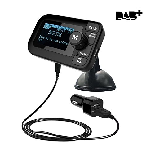 Onlyesh Auto DAB+ Digital Radio Adapter FM Transmitter, Bluetooth MP3 Musik DAB Plus Autoradio Empfänger mit Guten Ton-Qualität Freisprecheinrichtung 2.3 Zoll LCD Display USB Auto Ladegerät