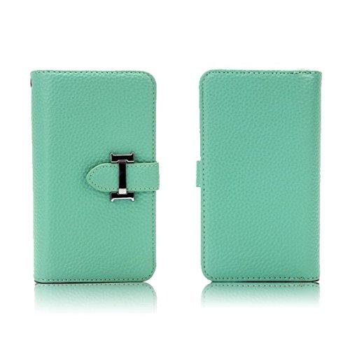 Große Kapazität Lichi Haut Beschaffenheit PU-lederner Fall-Mappen-Beutel-Kasten mit abnehmbarer rückseitiger Abdeckung für iPhone 7 ( Color : Rose ) Green