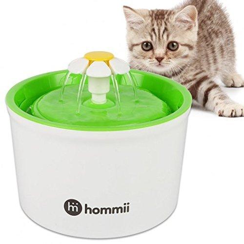 Hommii Haustier Blumentrinkbrunnen für Katzen Automatisch Trinkbrunnen mit Kohlefilter Pet Water Fountain Drinking Blau Grün Orange (Ohne Matte, Grün)