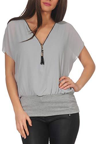 Malito Mujer Blusa Corta Bate Mirar Túnica Colores Lisos Camiseta 6298 (Adecuado de la Talla 38 hasta 46, Gris Claro)
