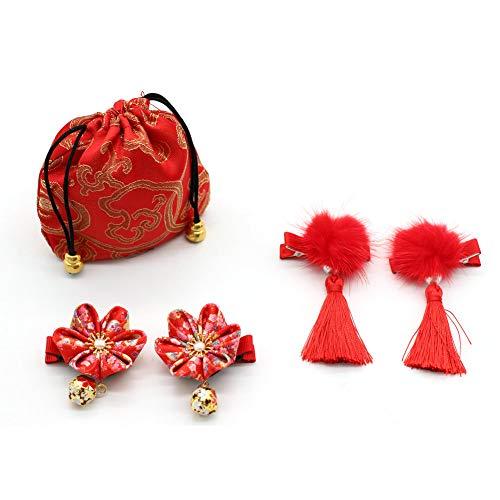 JUNICON Haarspange mit roten, Flauschigen Kugeln, Perlenquasten, Haarspangen und Kirschblüten-Haarnadel-Set für Mädchen, Festival, Weihnachten, Neujahrsgeschenk