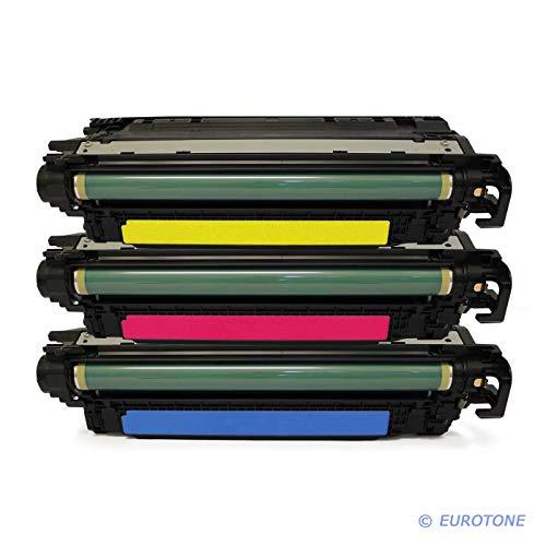 3X Eurotone Remanufactured Toner für HP Color Laserjet CP 5225 Wie CE741A-43A CE741A-CE743A 307A Color (Hp Cp5225 Toner)