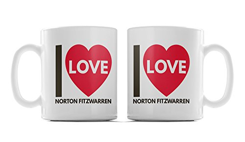 I Love (Heart) Norton Fitzwarren, UK Town, Village, Or City Location, Classic Heart Style Design, Ceramic 10oz Mug