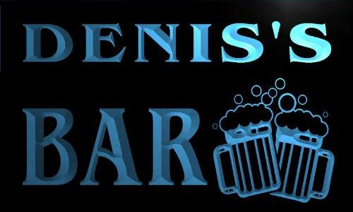 w005852-b DENIS'S Nom Accueil Bar Pub Beer Mugs Cheers Neon Sign Biere Enseigne Lumineuse