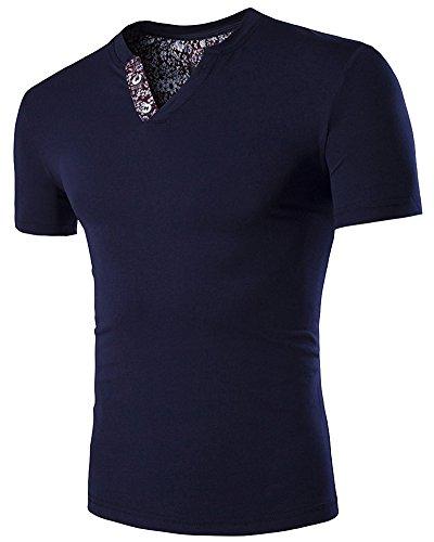 Herren Basic Slim Fit Kurzarm T-Shirt V-Ausschnitt Dunkelblau