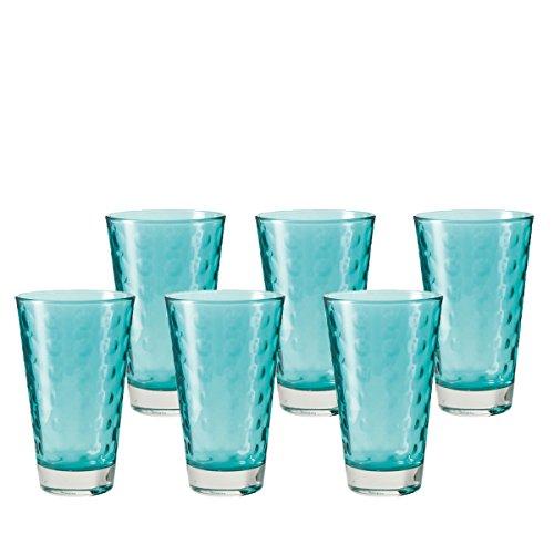 Leonardo 014775 Set 6 Becher Wassergläser groß Optic, spülmaschinenfest, laguna türkis / blau