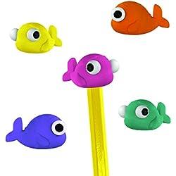 Mustard Bobble Eyes - Gomas de borrar para lápiz con forma de pez, varios colores